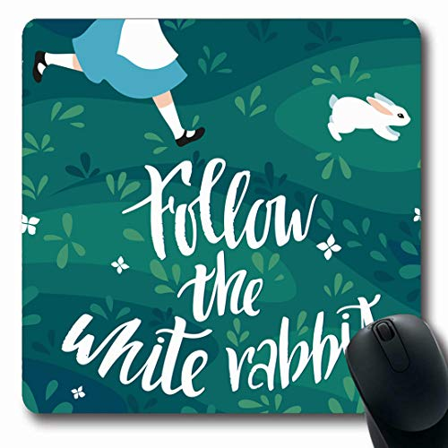 Ahawoso Mousepads Children Character Follow White Rabbit Girl Chase Story Easter Hare Alice Artworks Design Hunt Oblong Shape 7.9 x 9.5 Inches Non-Slip Gaming Mouse Pad Rubber Oblong Mat