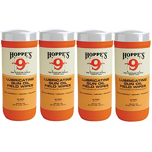 Hoppes Pistol Target (Hoppe's No. 9 Large Lubricating Gun Oil Field Wipes (4-Pack, 240 Wipes))