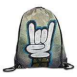 Hip Hop Gestures Drawstring Bag Travel Backpack Gym Bag
