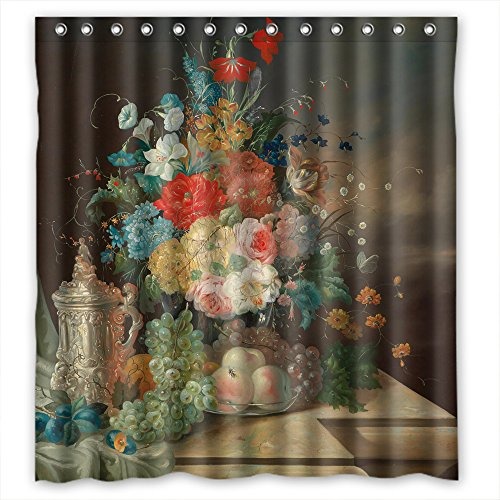 Monadicase Famous Classic Art Painting Flowers Blossoms Polyester Bathroom Curtains Width X Height / 72 X 72 Inches / W H 180 By 180 Cm For Girls Kids Boys Boys Wife Couples. Machine Was