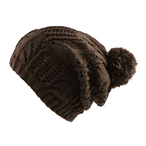 Morehats Thick Crochet Knit Slouchy Pom Pom Beanie Winter Ski Hat - Chocolate
