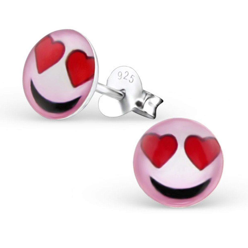 Cute Emoji Earrings Accessories Girl Studs Posts Sterling Silver Smile Face (Love)