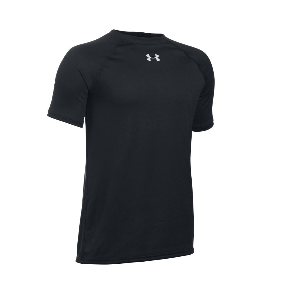 Under Armour Boys' Locker Short Sleeve T-Shirt, Black (001)/White, Youth X-Small by Under Armour