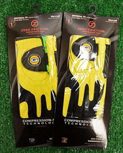 2 Zero Friction Men's Left Hand Universal Golf Gloves - Green Bay Packers - Yellow]()