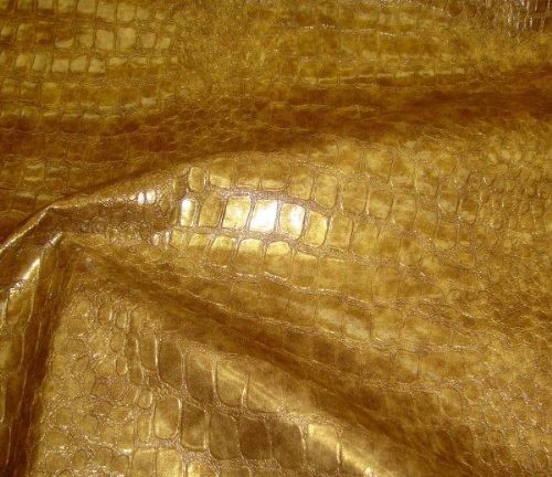 Embossed Gold Metallic Crocodile Pattern Upholstery Vinyl Fabric Per Yard Sold BTY