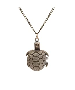 DUSENG Retro Cartoon Bronze Tortoise Pocket Clock Student Long Chain Pocket Watch