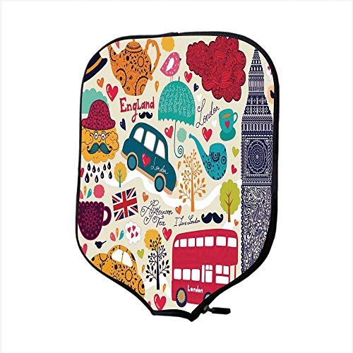 Neoprene Pickleball Paddle Racket Cover Case,London,Colorful Local Symbols Painting Red Bus Big Ben Tea Pot Cup Umbrella and Retro Cab,Multicolor,Fit for Most Rackets - Protect Your Paddle