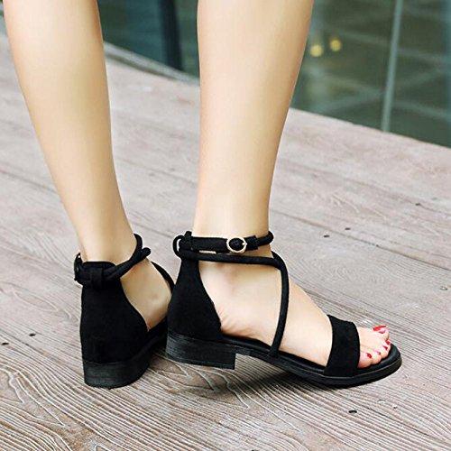 Para Viajes Flats Summer Roman Straps Negro De Sandalias De Zapatos Casuales Vacaciones Señoras Las Cross Flat qwnARP7