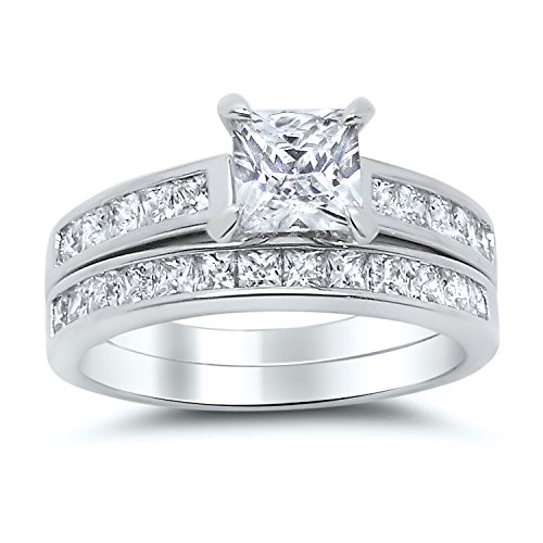 Sterling Silver Princess Cut Bridal Set Engagement Wedding Ring Set (Size 8 1/2) Bridal Set Silver Ring