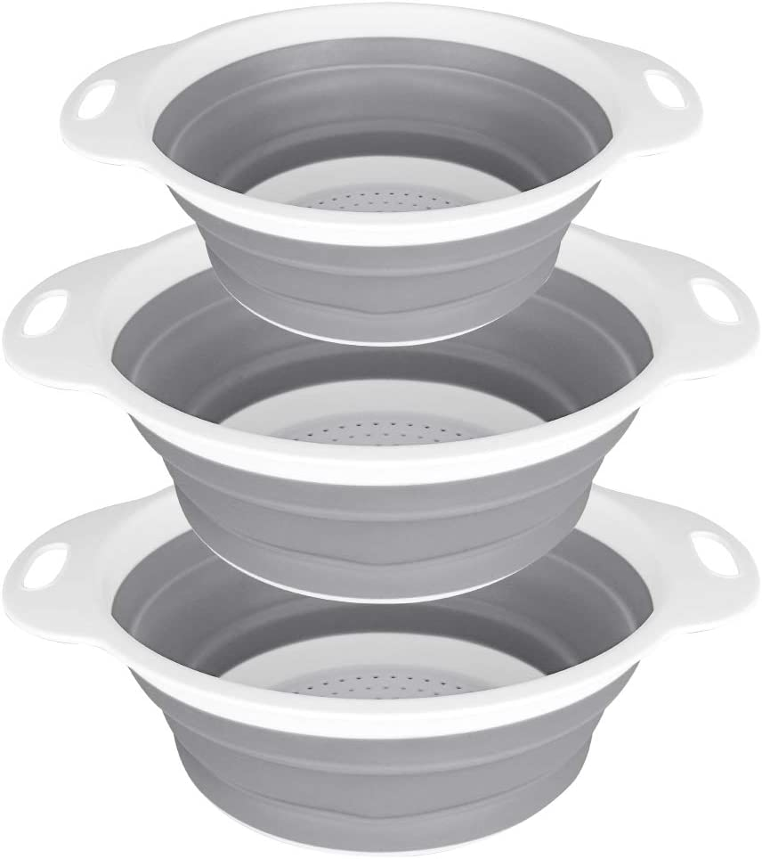 QiMH Collapsible Strainer and Colander Set of 3-2 PC 4 Quart(1 gal) and 1 PC 2 Quart(0.5 gal) - BPA Free & Dishwasher-safe Silicone Kitchen Foldable Strainer for Pasta, Veggies