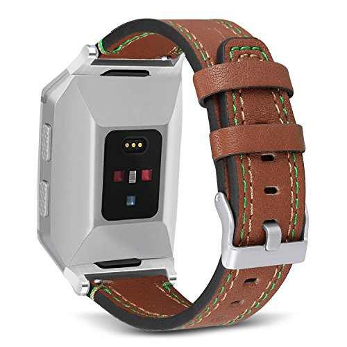 Brwon Leather (For Fitbit Ionic Bands, SKYLET Classic Genuine Leather Replacement Straps for Fitbit Ionic Smart Watch Wristbands (No Tracker)[Brwon])