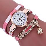 Women Watches Mosunx(TM) Fashion New Girl Watches Charm Wrap Around Leatheroid Quartz Wrist Watch Girlfriend Gift (Pink)
