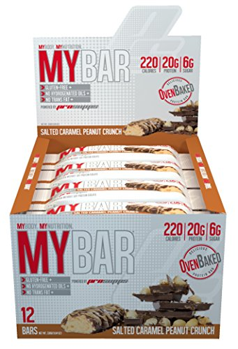 Pro Supps MYBAR Delicious Oven Baked Protein Bar (Salted Caramel Peanut Crunch), 20g Protein, Only 6g Sugar, Gluten-free, No Trans Fat, Healthy on-the-go Snack. 12 Count, Net WT 1.94 ounces