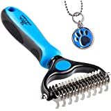 Pet Grooming Tool - 2 Sided Undercoat Rake Cats & Dogs - Safe Dematting Comb Easy Mats & Tangles Removing - No More Nasty Shedding Flying Hair