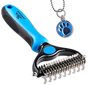 Pet Grooming Tool - 2 Sided Undercoat Rake for Cats & Dogs - Safe Dematting Comb for Easy Mats & Tangles Removing - No More Nasty Shedding and Flying Hair