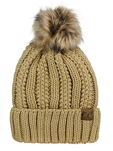 C.C Thick Cable Knit Faux Fuzzy Fur Pom Fleece Lined Skull Cap Cuff Beanie, Camel]()