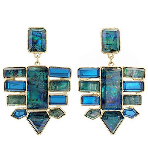 (Large Unique Colorful Foil Multi Shape Spike Bar Cluster Post Dangle Earrings (Blue))