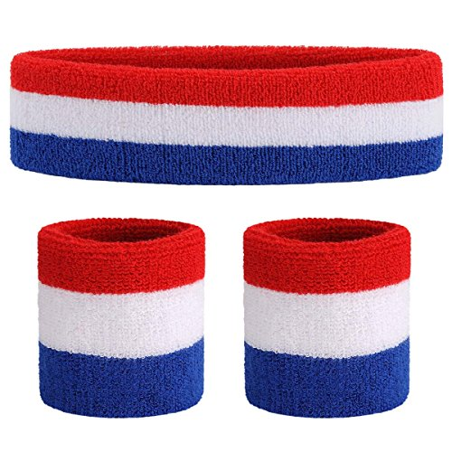 OnUpgo Sweatband Set Sports Headband Wristband Set Sweatbands Terry Cloth Wristband Wrist Sweatband Headbands Moisture Wicking Sweat Absorbing Head Band -