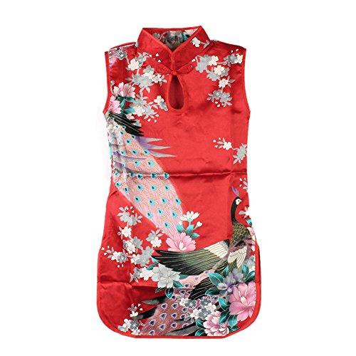 Weixinbuy Kid Girls Sleeveless Peacock Printed Chinese Cheongsam Dress Red -