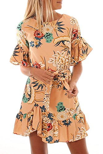Dokotoo Womens Juniors Cute Plus Size Summer Ladies Sundresses Floral Pattern Short Sleeve Ruffle Hem Chiffon Mini Dress Apricot X-Large