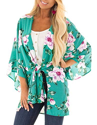 (Womens Bohemian Chiffon Floral Cover up Lightweight Kimono with Belt Small)