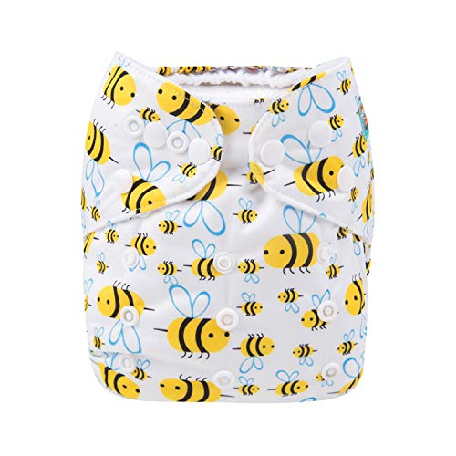 Alva Baby Cloth Diaper One Size Adjustable Reuseable Washable Nappy One Pack with 2 Inserts (Hard-Working bee, All in one) H117