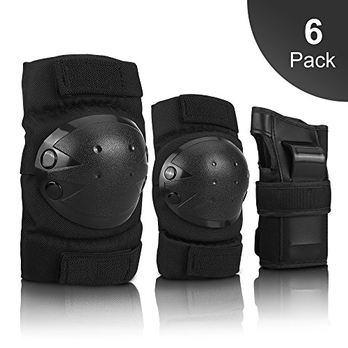 IPSXP Knee Pads Set, Protective Gear for Kid Children Teenager Adult with Knee Elbow Wrist Pads for Rollerblading, Skating, Skateboard, Scooter, Biking, Cycling (45-57.5 kg)