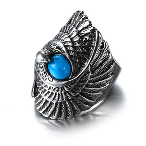 Eagle Gemstone - OAKKY Men's Stainless Steel Vintage Domineering Biker Large Eagle Gemstone Ring with Turquoise Size 12