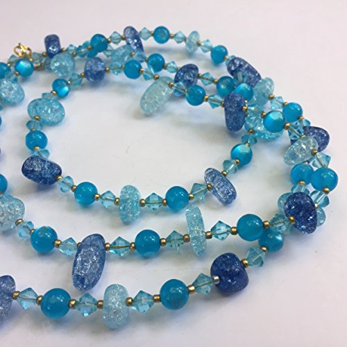 Extra long blue crackle glass necklace, 41