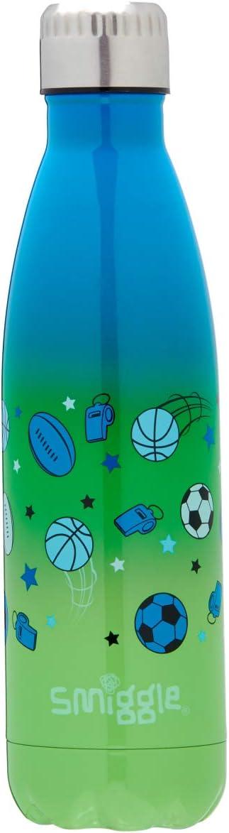 botella de agua infantil rellenable en acero inoxidable con tapa a rosca y 500/ml de capacidad Con dibujos deportivos Smiggle Wonder Stainless Steel Insulated Kids