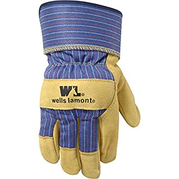 Heavy Duty Work Gloves with Leather Palm, Large (Wells