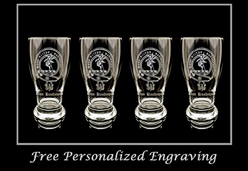 Scottish Beer (Clan Henderson Scottish Crest Pint Glass Set of 4 - Free Personalized Engraving, Family Crest, Pub Glass, Beer Glass, Custom Beer Glass)