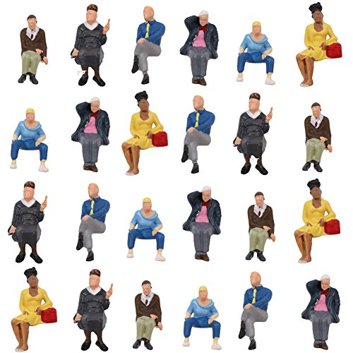 P4803 24 pcs All Seated Figures O Gauge 1:50 Scale Painted People Model Railway New