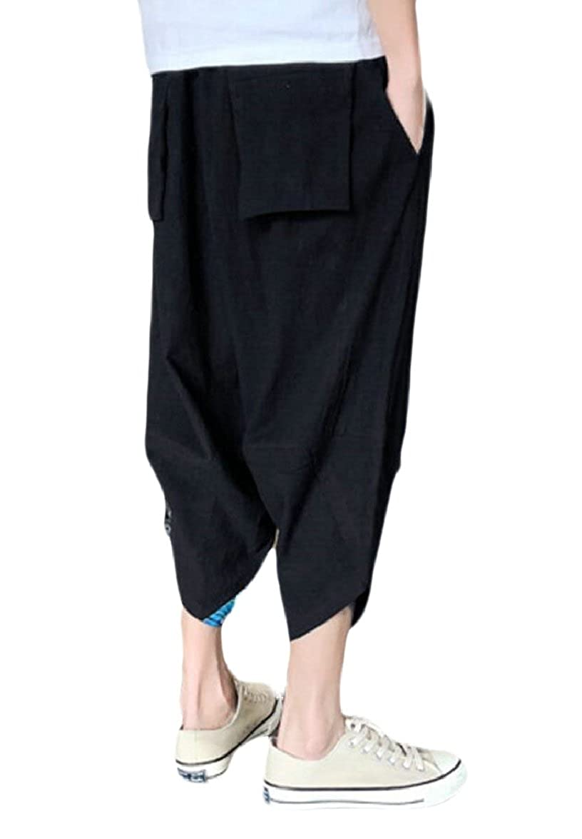 FLCH+YIGE Mens Summer Cotton Linen Loose Embroidery Beach Harem Pants