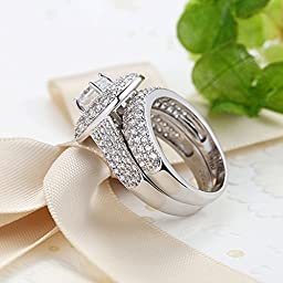 Bamoer 2015 New Arrival Elegant 2 Pieces Square Cushion Cut Solitaire Halo Cubic Zirconia Wedding Engagement Ring Set for Women Men Size 7 to 8 (8)
