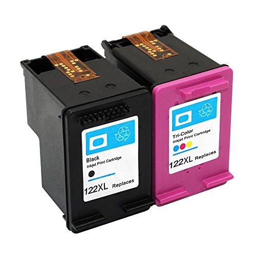 3000 Black Ink Cartridge (ESTON 2 Pack #122 XL Black/Color Ink for Deskjet 1000 1050 2050 2050s 3000 3050A)