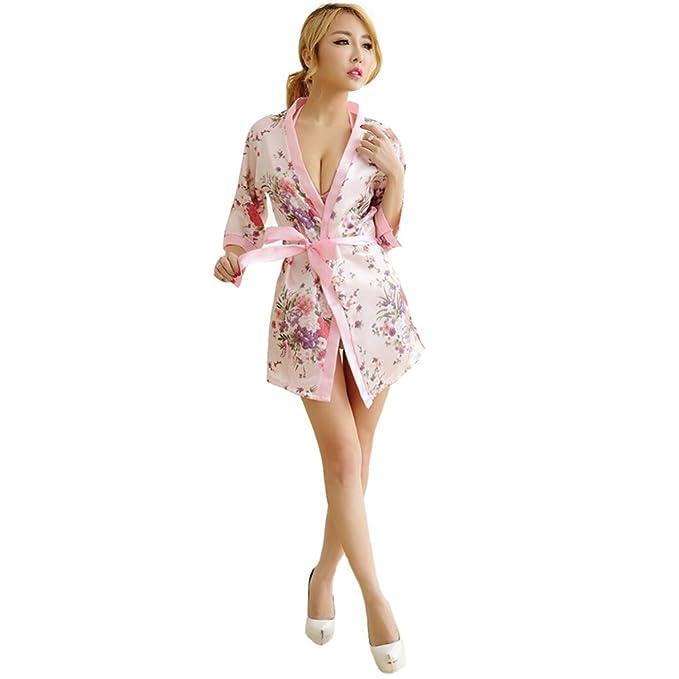Adulto Lencería Sexy Ladies Chándal Sexy Pijamas Japanese Kimono Set (Adecuado para 40-60KG Mujeres), Pink-OneSize: Amazon.es: Ropa y accesorios