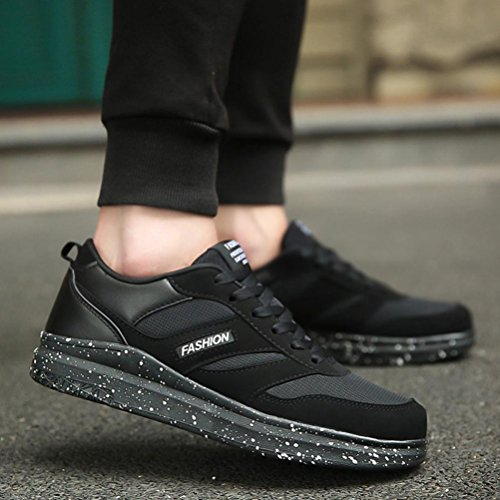 Fitness Gym Black Shoes Low Lightweight Ankle Mesh Sneakers Casual up Running Shoes Sport Shoes Bovake Ankle Trainers Men's Casual Trim Fashion Lace Jogging Flat YangRx