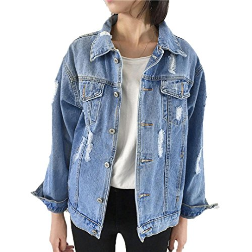 Hemlock Denim Jacket Teen Girl, Women Juniors Vintage Jeans Coat Cardigan Ripped Outerwear (L, Blue)