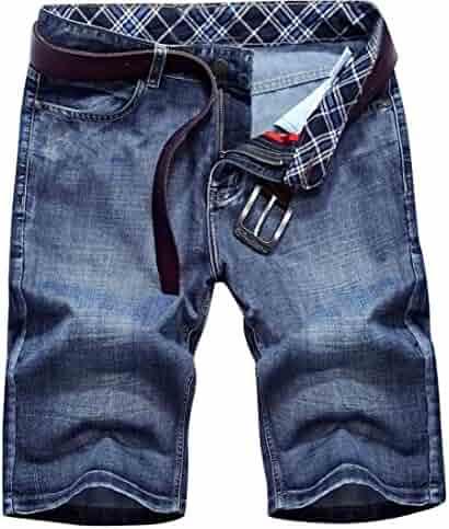 630a1cba64 Oberora-Men Summer Mid Waist Straight Leg Slim Fit Denim Shorts Jeans
