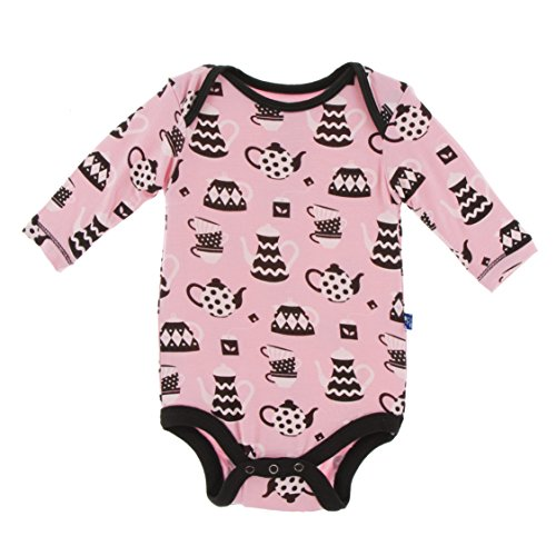 (Kickee Pants Little Girls Print Long Sleeve One Piece - Teatime, 12-18 Months)