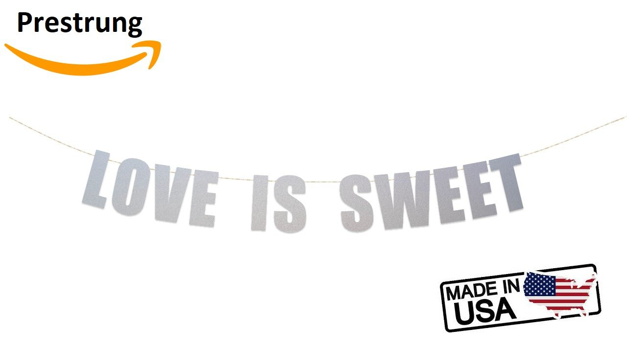 Love is Sweet - Wedding, Engagement, Bridal Shower, Birthday, Bachelorette, Anniversary, Holiday Party Banner Signs Decor (Silver Metallic)