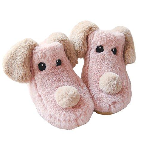 Jaderich Schattige Hond Pluche Fleece Winterse Laars Pantoffels Roze