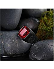 Men's Ring Black with Red Zircon Stone Size 12