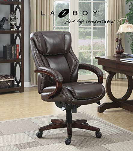 La-Z-Boy Bellamy Executive Bonded Leather Office Chair – Coffee (Brown) (Renewed)