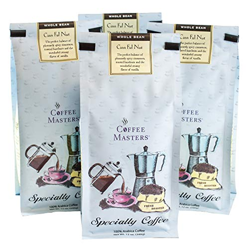 Coffee Masters Flavored Coffee, Cinn Ful Nut, Whole Bean, 12-Ounce Bags (Pack of 4)