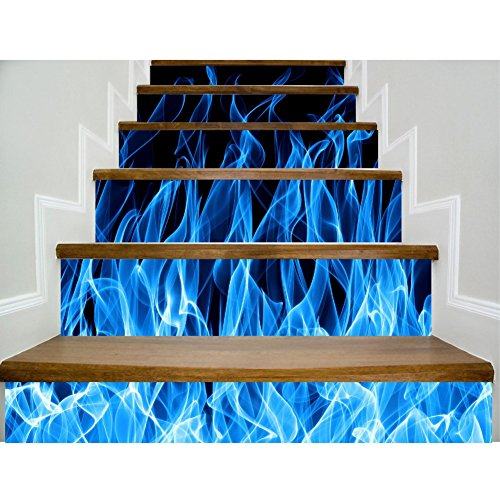 KAYI 3D Stair Stickers Blue Flame DIY Stair Decals Waterproof Removable Hallway Decorative Wall Stickers,10018cm6 pieces