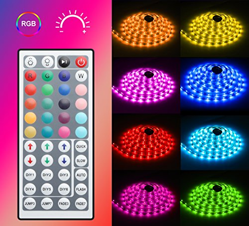 MINGER LED Strip Light Waterproof 16.4ft RGB SMD 5050 LED Rope Lighting Color Changing Full Kit with 44-keys IR Remote Controller & Power Supply Led Strip Lights for Home Kitchen Bed Room Decoration by MINGER (Image #1)'