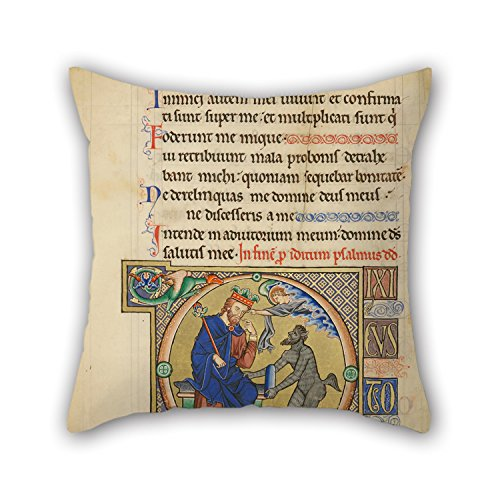Artistdecor Oil Painting Master Of The Ingeborg Psalter (French, Active About 1195 - About 1210) - Initial D- David Pointing To His Mouth Pillowcover 18 X 18 Inches / 45 By 45 Cm Gift Or Decor For