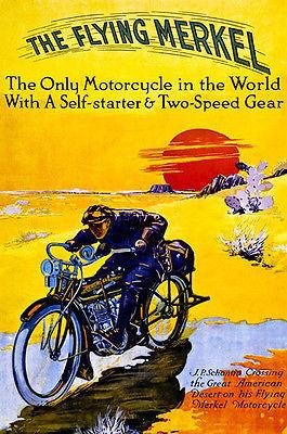 1913 The Flying Merkel Motorcycle - Promotional Advertising Poster -